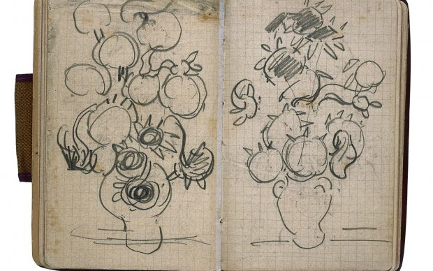 Vincent van Gogh, Sketches of vases with sunflowers, in sketchbook from Paris and Auvers-sur-Oise, 1890, Van Gogh Museum, Amsterdam (Vincent van Gogh Foundation). Photo: Erik and Petra Hesmerg