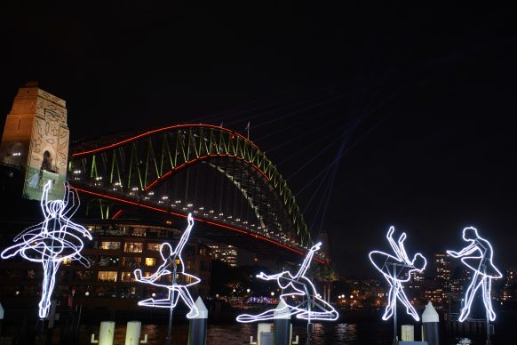 Vivid Sydney 2019, Campbells Cove, Ballerina, photo credits: Destination NSW.