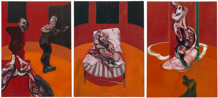 Francis Bacon, Three Studies for a Crucixion, March 1962 Oil with sand on canvas, three panels, 198.1 x 144.8 cm each Solomon R. Guggenheim Museum, New York 64.1700 © 2019 The Estate of Francis Bacon. All rights reserved / Artists Rights Society (ARS), New York/DACS, London