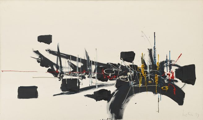 Georges Mathieu, Untitled, 1959 Oil on canvas, 96.5 x 161.3 cm Solomon R. Guggenheim Museum, New York, Gift, Mr. and Mrs. Samuel A. Seaver 79.2628 © 2019 Artists Rights Society (ARS), New York / ADAGP, Paris
