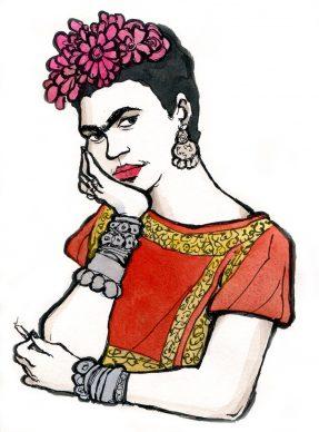 """Vanna Vinci, Disegno preparatorio per la copertina di """"Frida Kahlo. Operetta amorale"""" © Vanna Vinci © 24 ORE Cultura, Milano"""
