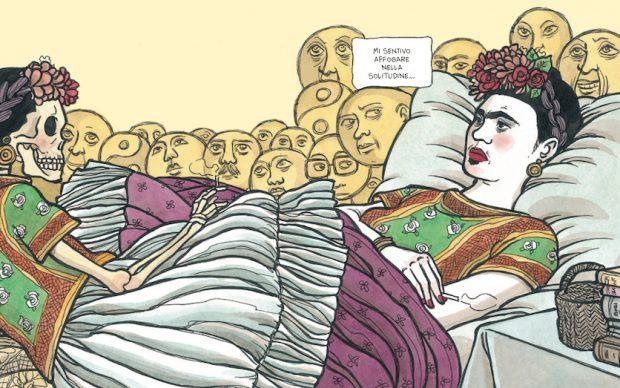 """Illustrazione tratta dalla tavola 146/147 di """"Frida Kahlo. Operetta amorale"""" ©Vanna Vinci, ©24 ORE Cultura, Milano 8"""