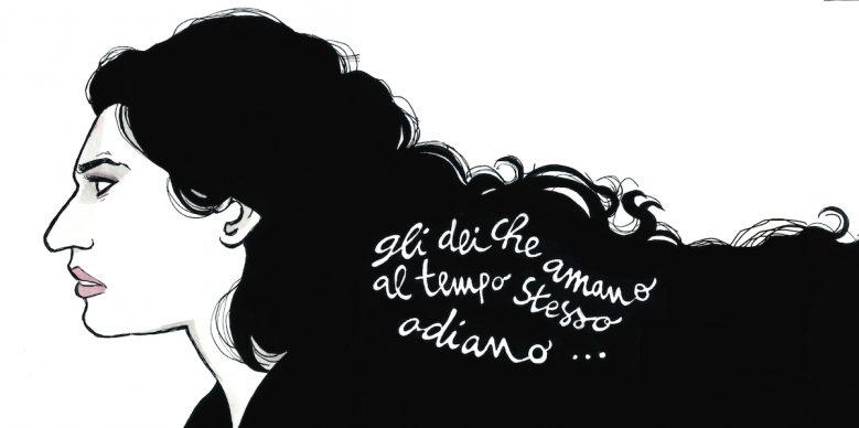 """Vanna Vinci, Illustrazione tratta dalla tavola 124-125 di """"Io sono Maria Callas"""" © Vanna Vinci: Feltrinelli Comics"""