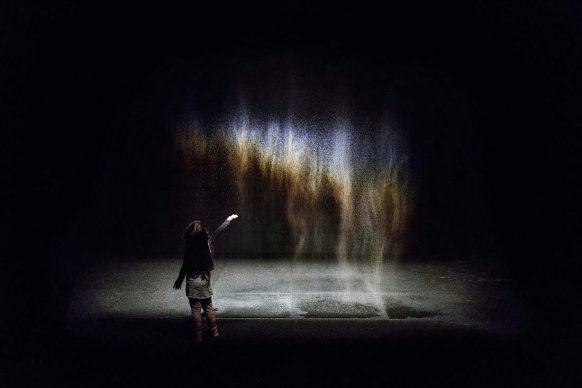 Olafur Eliasson (b.1967), Beauty, 1993, spotlight, water, nozzles, wood, hose, pump. Dimensions variable. Installation view at Moderna Museet, Stockholm, 2015. Photo: Anders Sune Berg. Courtesy of the artist; neugerriemschneider, Berlin; Tanya Bonakdar Gallery, New York / Los Angeles © 1993 Olafur Eliasson