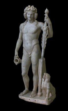 Statua in marmo di Bacco con pantera, 50–150 d.C., rinvenuto nelle rovine di un tempio a Piacenza, Emilia-Romagna, Museo Archeologico Nazionale di Napoli