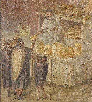 Scena che mostra la distribuzione del pane, 40-79 d.C., Pompei, Casa del fornaio, Museo Archeologico Nazionale di Napoli