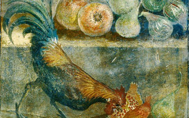 Natura morta con galletto che becca fichi, pere e melograni, 45-79 d.C., Casa dei Casti Amanti, Pompei, Parco Archeologico di Pompei