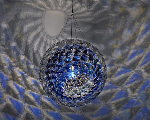 Olafur Eliasson (b.1967), Cold wind sphere, 2012, stainless steel, coloured glass (dark blue, blue and light grey), mirror, colour-effect filter glass (blue), bulb ø 1700 mm. Photo: Jens Ziehe, Centre Pompidou, Paris © 2012 Olafur Eliasson