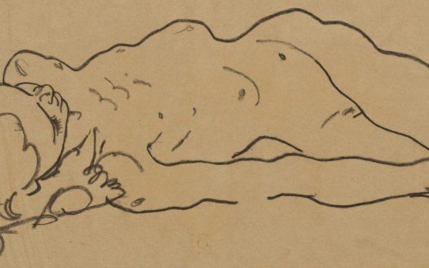 Egon Schiele, Reclining Nude Girl, c. 1918, Courtesy Galerie St. Etienne