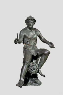 Particolare di una fontana con pescatore seduto che tiene in mano una canna da pesca, 50 a.C.,– 50 d.C., Casa della piccola fontana, Pompei, Museo Archeologico Nazionale di Napoli