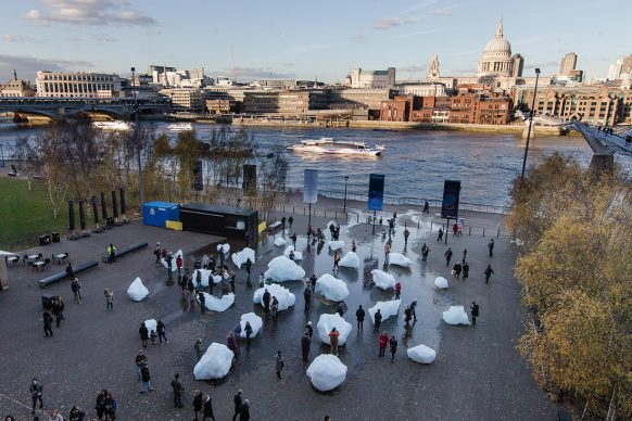 Olafur Eliasson and Minik Rosing, Ice Watch, blocks of glacial iceb Dimensions variableb Supported by Bloombergb Installation: Bankside, outside Tate Modern, 2018 Photo: Charlie Forgham Bailey © 2018 Olafur Eliasson and Minik Rosing