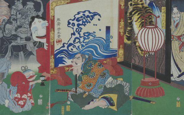 Naoyuki Conquering Monsters Cojured up by an Old Raccon Dog at the Residence of Fukushima Tsukioka Yoshitoshi 1866 National Museum of Japanese History