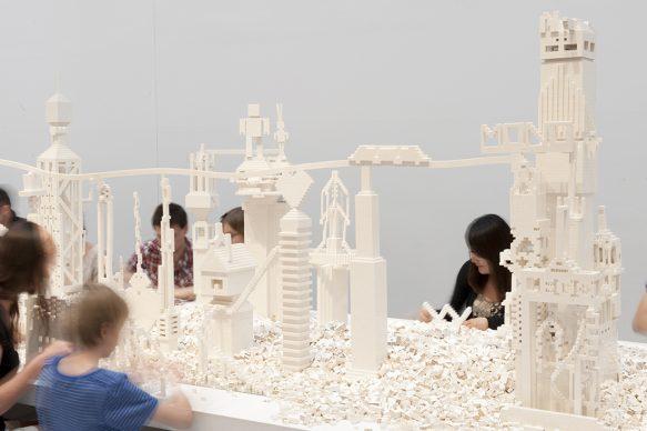 Olafur Eliasson (b.1967), The cubic structural evolution project, 2004. White LEGO bricks (various sizes), wood, mirror. Installation view: QAGOMA. Photo: Mark Sherwood, QAGOMA © 2004 Olafur Eliasson