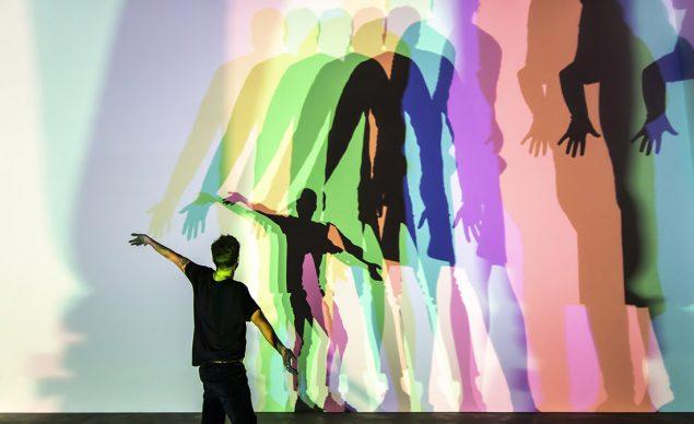 Olafur Eliasson (b.1967), Your uncertain shadow (colour), 2010 HMI lamps (green, orange, blue, magenta), glass, aluminium, transformers. Thyssen-Bornemisza Art Contemporary Collection, Vienna. Photo: María del Pilar García Ayensa/ Studio Olafur Eliasson. Courtesy of the artist; neugerriemschneider, Berlin; Tanya Bonakdar Gallery, New York / Los Angeles © 2010 Olafur Eliasson