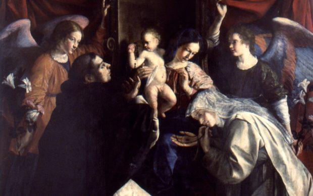 Orazio Gentileschi, Madonna del Rosario, dettaglio, 1613-1617, Pinacoteca civica 'B.Molajoli', Fabriano