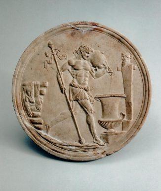 Oscillum (rilievo circolare) di marmo raffigurante un satiro che versa vino, 50 a.C.- 50 d.C., collezione privata