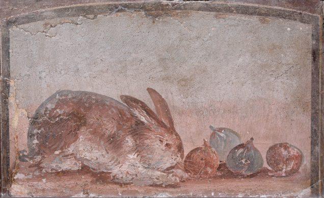 Natura morta con coniglio che rosicchia dei fichi,  40–79 d.C., Pompei, Museo Archeologico Nazionale di Napoli