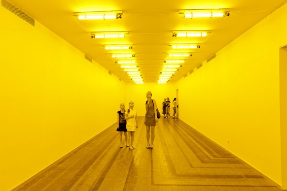 Olafur Eliasson (b.1967), Room for one colour, 1997, monofrequency lamps. Dimensions variable, installation view at PinchukArtCentre, Kiev, 2011. Photo: Dmitry Baranov. Courtesy of the artist; neugerriemschneider, Berlin; Tanya Bonakdar Gallery, New York / Los Angeles © 1997 Olafur Eliasson