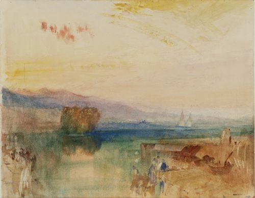 Joseph Mallord William Turner, Geneva, the Jura Mountains and Isle Rousseau, Sunset, 1841, Aquarell und Bleistift auf Papier, 228 x 293 cm © Tate, London, 2019