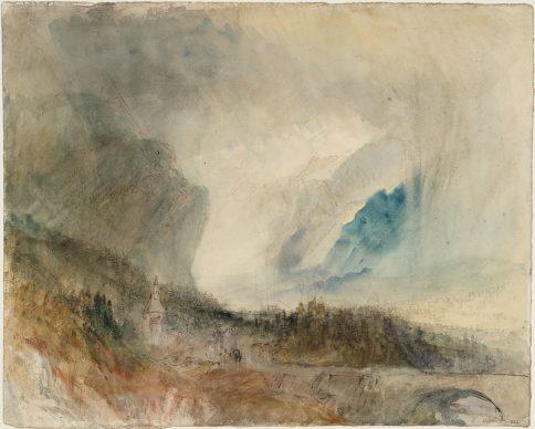 Joseph Mallord William Turner, Storm in the St Gotthard Pass. The First Bridge above Altdorf: Sample Study, ca.1844/45 Bleistift, Aquarell und Tusche auf Papier, 23.9 x 29.7 cm © Tate, London, 2019