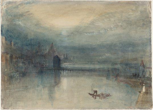 Joseph Mallord William Turner, Lucerne by Moonlight: Sample Study, ca.1842/43, Aquarell auf Papier, 23.5 x 32.5 cm © Tate, London, 2019