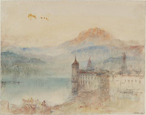 Joseph Mallord William Turner, Lucerne with Pilatus beyond, ca. 1841/44 Bleistift, Aquarell und Gouache auf Papier, 24.4 x 30.9 cm © Tate, London, 2019