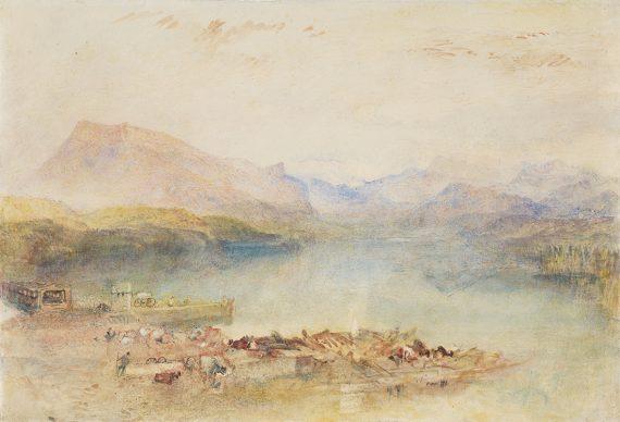 Joseph Mallord William Turner, The Rigi, Lake Lucerne, Sunset, um 1842, Aquarell und Gouache auf Papier, 24.7 × 36.2 cm, Lowell Libson & Jonny Yarker Ltd