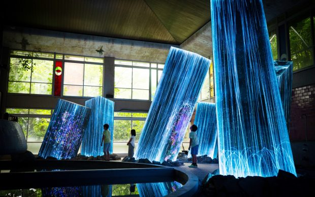 teamLab, Megaliths in the Bath House Ruins, 2019