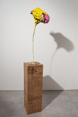 Franz West, o.T., 2003,  papier-mâché, acrylic, metal and wood, 110x40x24,5 cm; base: 82x40x40 cm. Collezione Valentina Bonomo, Roma