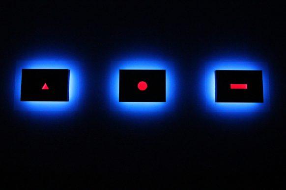 Nanda Vigo, Light Project, exhibition view at Palazzo Reale, Milano 2019, Trilogia, Light progressions, omaggio a G. Ponti L. Fontana P. Manzoni, photo credit Marco Poma. Courtesy Archivio Nanda Vigo