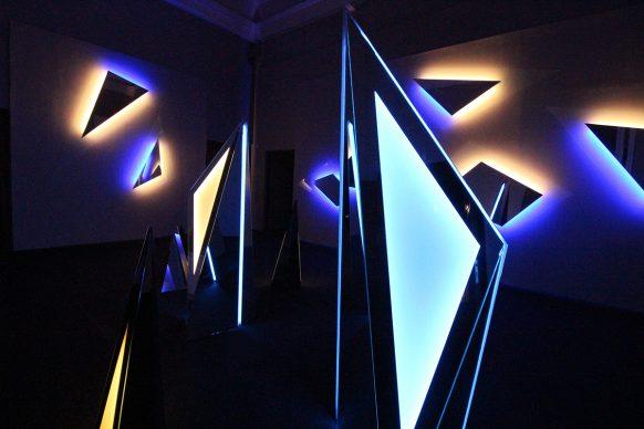 Nanda Vigo, Light Project, exhibition view at Palazzo Reale, Milano 2019, Galactica 2 e Trigger of the space, photo credit Marco Poma. Courtesy Archivio Nanda Vigo