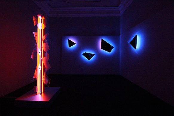 Nanda Vigo, Light Project, exhibition view at Palazzo Reale, Milano 2019, Neverended light e Galactica sky, photo credit Marco Poma. Courtesy Archivio Nanda Vigo