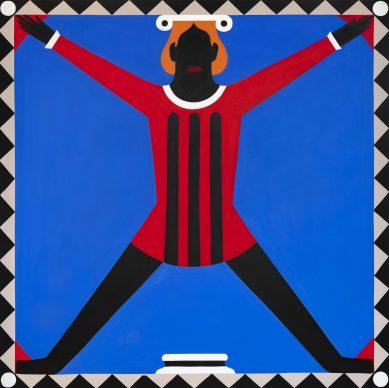 A. Iacurci, Cerchio-quadrato, 200x200cm, acrilico su tela