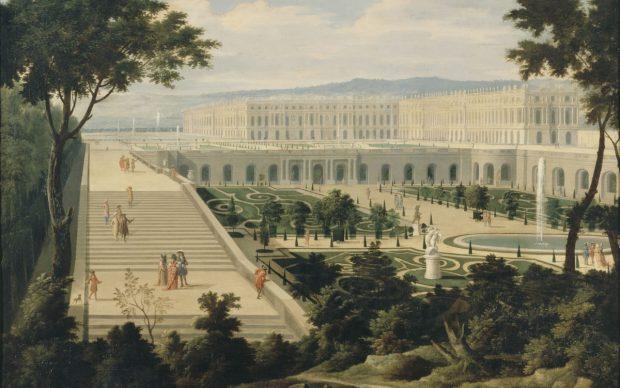 Étienne Allegrain, Veduta della Reggia di Versailles e dell'Orangerie, presa dal bacino degli Svizzeri, 1695 circa, olio su tela. Versailles, Musée National du Château de Versailles