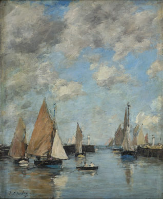 Eugène Boudin, Trouville, il molo con l'alta marea, 1888-1895 ca. Collection Association Peindre en Normandie, Caen