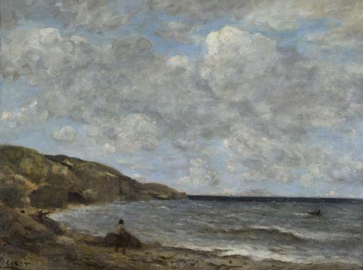 Jean-Baptiste Camille Corot, Una spiaggia in Normandia, 1872-74. Collection Association Peindre en Normandie, Caen