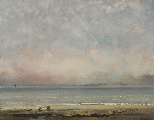 Gustave Courbet, La spiaggia a Trouville, 1865 ca. Collection Association Peindre en Normandie, Caen