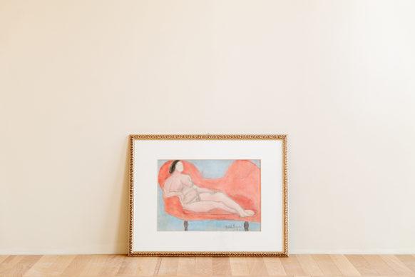 Rachele Bianchi, Nudo sul divano rosso, 1951. Photo Laura La Monaca, courtesy Archivio Rachele Bianchi