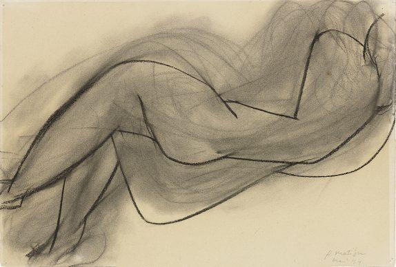 Henri Matisse, Nu couché de dos, 1944, carbone su carta vergata dell'album «Aquarelle Canson France», 38,2 x 56,6 cm. Musée Matisse, Nizza. Photo François Fernandez © Succession Henri Matisse/2019 ProLitteris, Zurich