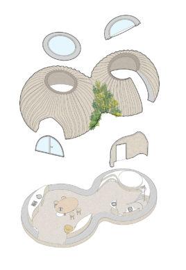 Vista assonometrica di TECLA, l'habitat stampato in 3D di Mario Cucinella Architects e WASP. © Mario Cucinella Architects