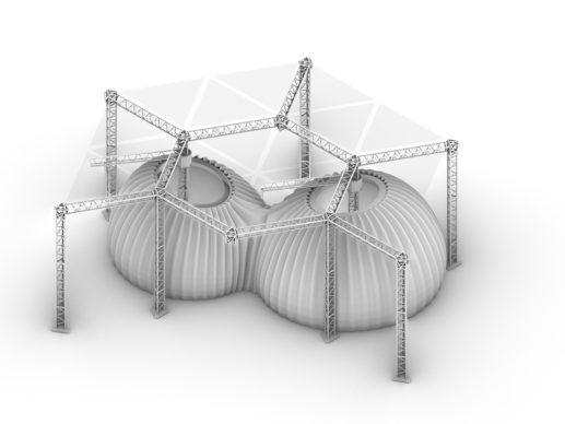 Un modello tridimensionale di TECLA, l'habitat stampato in 3D di Mario Cucinella Architects e WASP. © Mario Cucinella Architects
