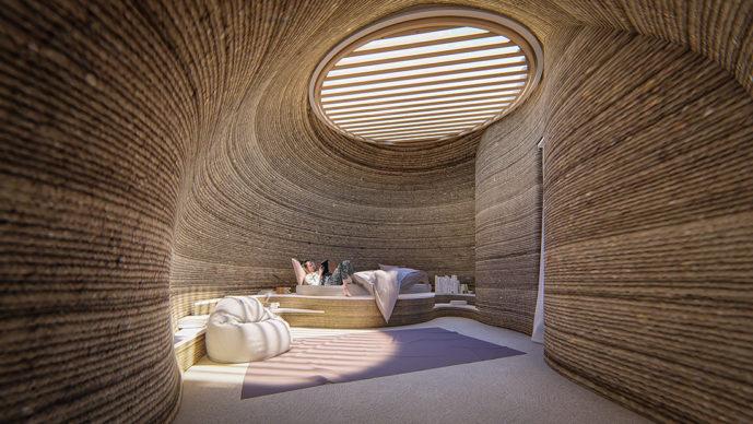 TECLA, l'habitat stampato in 3D di Mario Cucinella Architects e WASP: vista della stanza da letto durante il giorno. © Mario Cucinella Architects