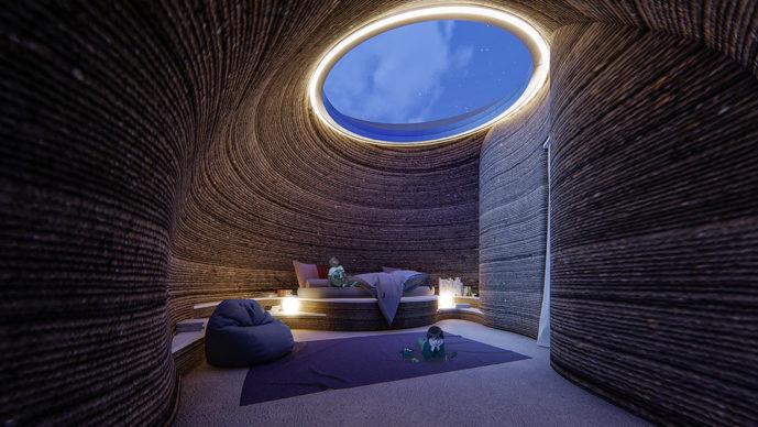 TECLA, l'habitat stampato in 3D di Mario Cucinella Architects e WASP: vista della stanza da letto durante la notte. © Mario Cucinella Architects