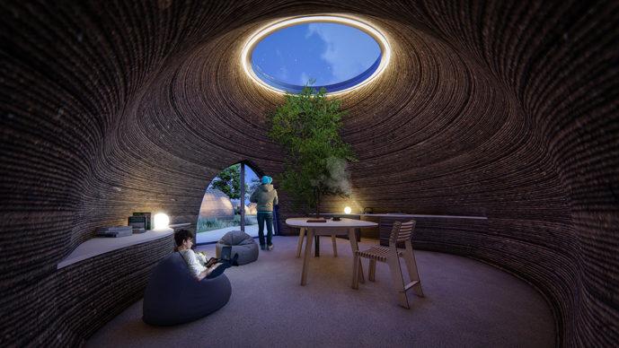 TECLA, l'habitat stampato in 3D di Mario Cucinella Architects e WASP: vista del living durante la notte. © Mario Cucinella Architects