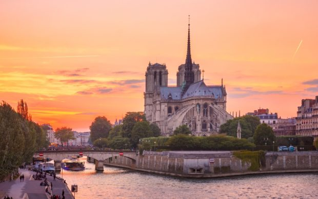 Notre-Dame de Paris, France. View of the Cathedral from the southeast, with the spire that collapsed during the April 2019 fire. Date: 2019. Photographer: kavalenkava / Shutterstock.com