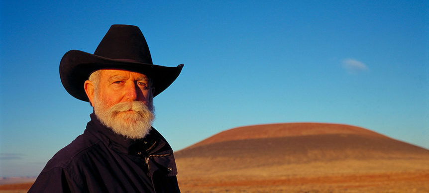 James Turrell in front of Roden Crater in the Arizona desert.  © James Turrell.  Photo: Florian Holzherr