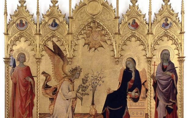 Simone Martini, Annunciazione e i Santi Ansano e Massima, 1333. Tempera su tavola, 184 x 210 cm. Gallerie degli Uffizi, Galleria delle Statue e delle Pitture, Sala 3