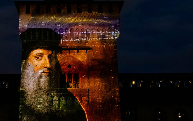 Leonardo mai visto, mapping Torre del Filarete. Photo courtesy CIVITA