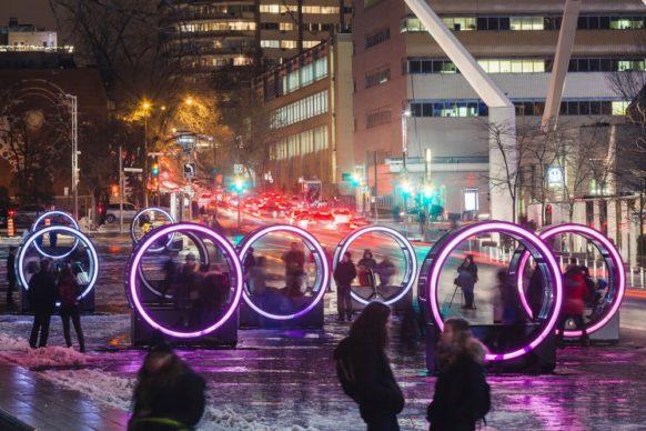 Luminothérapie, Montréal, Canada - Loop, by Olivier Girouard, Jonathan Villeneuve and Ottoblix.  Photo credit Ulysse Lemerise - OSA