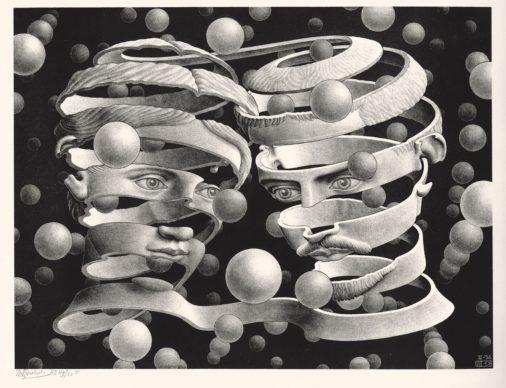 Maurits Cornelis Escher, Vincolo d'unione, aprile 1956, litografia, 25,3 x 33,9 cm. Collezione privata, Italia All M.C. Escher works © 2019 The M.C. Escher Company. All rights reserved www.mcescher.com